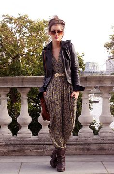 Printed jumpsuit with a leather jacket, boots, and aviators . . . very cool and edgy