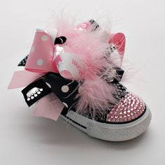 High Maintenance Bling Low Top Converse with 2 DIFFERENT SETS of detachable bows (Toddler Sizes 4-10)