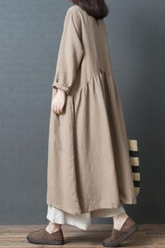 Fashion Loose Linen Maxi Dresses Women Fall Outfits - Women's style: Patterns of sustainability Muslim Fashion, Modest Fashion, Hijab Fashion, Fashion Outfits, 80s Fashion, Fashion 2020, Style Fashion, Modest Dresses, Maxi Dresses