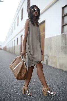 I want these shoes and live the dress color. Street style - Bgo & Me  Apparel style fashion outfit clothing women brown handbag sunglasses heels  summer ...