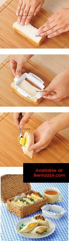 Japanese Bento Lunch Sandwich Cutter Half Sealed Bread 2pcs