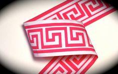 Woven Jacquard Ribbon Greek Key Trim  1 7/8 x 1 by LesBonRibbon