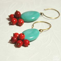 Turquoise Earrings - Oval turquoise glass bead and cherry red glass beads - dangle - chandelier