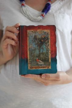 Hand painted art journal with ancient Italian fresco.