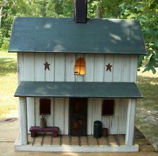 Vintage Folk Art Primitive White Amish Birdhouse Cabin Farmhouse