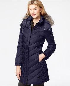 be27ac7a2c7 Kenneth Cole Faux-Fur-Trim Chevron Quilted Down Coat - Coats - Women -