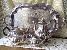 Vintage Tea and Coffee Service Sheffield Design by cynthiasattic, $349.00