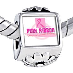 """Pugster Pink Ribbon Words """"together We Can Make Difference"""" Photo Against Flower European Beads Fits Pandora Charm Bracelet Pugster. $12.49. Metal: Metal. Color: Pink, White. Size (mm): 7.60*9.10*10.10. Weight (gram): 4.20"""
