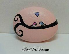 Lovebirds Waterproof Garden Stone Painted Rock Art Cute Little Birds Unique Painted Rock Art Pink Garden Ornament Gift For Wife Gardener Art