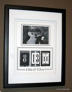 This may be a fun way to display one of our wedding photos!  I hope that I can find our numbers.
