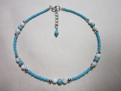 Anklet Handmade Anklet Howlite Beaded Anklet by TheLucieCollection, $8.50