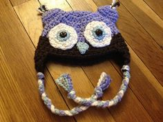 Crochet Owl Hat 100% organic cotton by yarnaholics on Etsy, $25.00