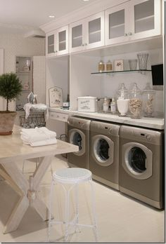 Laundry room- My family is so big that I feel like I spend most of my time washing. This laundry room is so relaxing and spacious. Definitely my dream laundry room. Laundry Room Design, Laundry In Bathroom, Small Laundry, Basement Laundry, Laundry Area, Laundry Closet, Laundry Center, Laundry Table, Laundry Storage