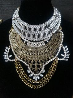 XIGYN-Handcrafted-Stacklace-Stacked-Statement-Necklace-Warrior-Choker-bib-ethnic-spike by BoutiqueVaganza on Etsy https://www.etsy.com/listing/240164497/xigyn-handcrafted-stacklace-stacked