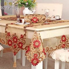 FADFAY Home Textile,Fashion Gold Table Cloth,Delicate Embroidery Tablecloth,Brand European Royal Style Wedding Table Overlay