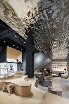 "Innenraum der Katzenbar ""Meow Restaurant"" in Guangzhou (China), angeboten von E Studio. Design Entrée, Lobby Design, Cafe Design, Hotel Lobby Interior Design, Commercial Interior Design, Commercial Interiors, Interior Architecture, Interior And Exterior, Plafond Design"