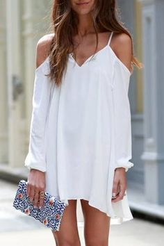 Long Sleeve Irregular Hem White Dress WHITE: Casual Dresses | ZAFUL
