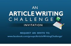 Mark Your Calendar for the October Article Writing Challenge