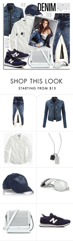 """""""Double Down on Denim"""" by petri5 ❤ liked on Polyvore featuring Junya Watanabe, LE3NO, J.Crew, Adriana Orsini, Diesel, Lauren Ralph Lauren and New Balance"""