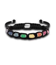 Theo Fennell - 18ct White Gold, Pave Multi Coloured Sapphire, Ruby and Tsavorite Totem Rainbow Bracelet
