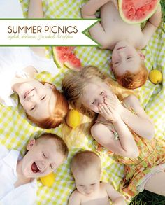Ideas for fun and easy summer activities for kids. Idea#2: Go on a picnic. What says summer more than a picnic? Pack lunch and head to your local park, field or where ever and eat lunch outside on a blanket. This blog has some adorable picnic ideas.