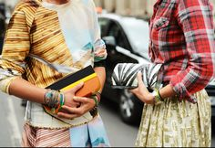Street style from London Fashion Week: mixing patterns #LFW #TheStyle (from Style.com)