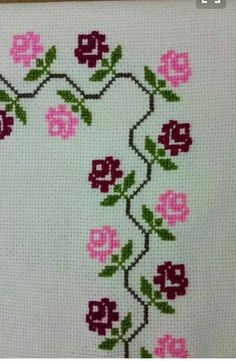 This Pin was discovered by Nad Cross Stitch Boarders, Cross Stitch Rose, Cross Stitch Flowers, Cross Stitch Designs, Cross Stitching, Cross Stitch Embroidery, Cross Stitch Patterns, Cat Cross Stitches, Hand Embroidery Designs