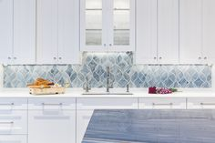 Artistic Tile I Custom-made claridges in light blue and ice white. Backsplash Kitchen White Cabinets, Quartz Backsplash, Blue Backsplash, Backsplash Ideas, Light Blue Kitchens, White Kitchens, Beach House Kitchens, Artistic Tile, Kitchen Gallery