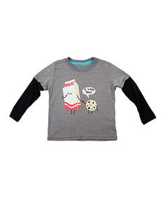 $13. Take a look at this Heather Gray Cookie Loves Milk Layered Tee - Toddler & Kids by Threadless on #zulily today!