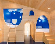Children's nook-like bedrooms are connected by tunnels