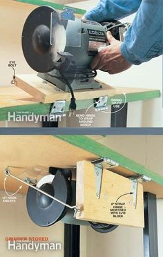 Swing-Up Grinder. Obviously, use the idea to store/work with.- Swing-Up Grinder. Obviously, use the idea to store/work with other similar tools… Swing-Up Grinder. Obviously, use the idea to store/work with other similar tools. Garage Workshop Organization, Garage Tool Storage, Workshop Storage, Garage Tools, Diy Workshop, Lumber Storage, Garage Shop, Diy Organization, Woodworking Techniques