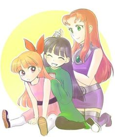starfire, numbuh 3 and blossom