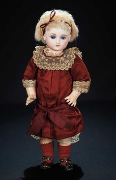 Gorgeous and Rare French Bisque Bebe, Series C, by Jules Steiner with Original Costume 6000/8500