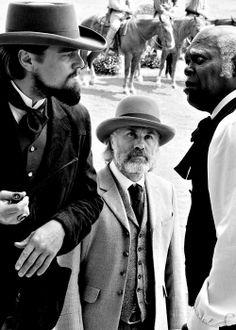 Leonardo DiCaprio, Christoph Waltz and Samuel L. Jackson in 'Django Unchained'