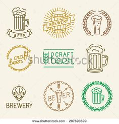 Ilustração de Vector craft beer and brewery logos and signs in trendy linear style - mono line badges and emblems with text and lettering for beer houses, pubs and brewing companies arte vetorial, clipart e vetores stock. Brewery Logos, Beer Brewery, Home Brewing Beer, Logo Sign, Bar Logo, Icon Tattoo, Craft Beer Gifts, Craft Bier, Gifts For Beer Lovers