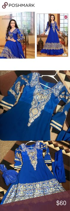 Great sale!!!! Indian party wear on a great discount..including pant and long dupatta...embroidered georgette gorgeous dress.BUST-36 Dresses Prom