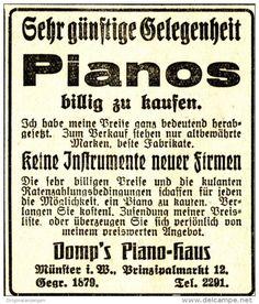 Original-Werbung/ Anzeige 1926 - DOMP'S PIANO - HAUS - MÜNSTER - ca. 60 x 75 mm