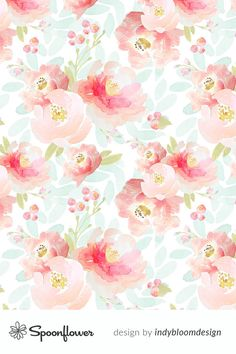 Indy Bloom Design Plush Pink Florals custom fabric by indybloomdesign for sale on Spoonflower Watercolor Wallpaper, Flower Wallpaper, Watercolor Background, Paper Background, Pattern Wallpaper, Textured Background, Iphone Wallpaper, Pink Floral Background, Fabric Wallpaper