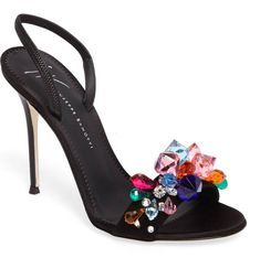 """Giuseppe Zanotti """"Mistico Crystal-Embellished Slingback Sandal"""" in multi-coloured-crystal-embellished black leather with open toe, elasticised slingback strap and very high stiletto heel 