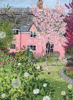 Stunning back yard, complete with cottage garden! Vegetal Concept, Garden Illustration, Pink Houses, Naive Art, Paintings For Sale, Prints For Sale, Painting & Drawing, House Painting, Pretty In Pink