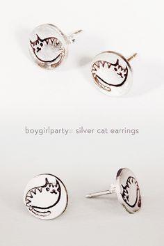Cat Earrings by Boygirlparty, http://shop.boygirlparty.com/products/silver-cat-stud-earrings
