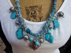 It's Time to make a SERIOUS Statement with your Jewelry?  Turquoise Statement Necklace, Multi-Layer, Boho, Chic, Gypsy Style, Sari Silk Ribbon, Handmade