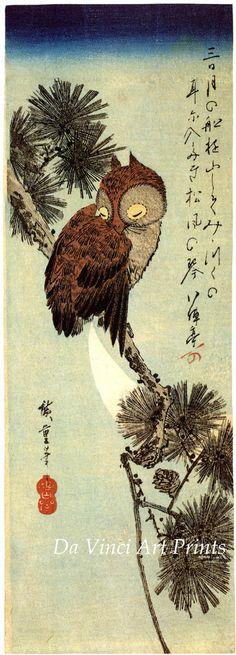 "Owl on a Pine Branch | Tattoo Ideas & Inspiration - Japanese Art | Hiroshige - ""Birds and Flowers: Little Brown Owl on a Pine Branch"", ca. 1830 | #Japanese #Art #Owl #Birds"