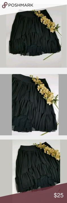 Free People Black Pull On Ruffle Skirt Small Free People High Low Ruffle Skirt Pull On Size Small Length Shortest 17 Longest 23 Waist Side To Side 14 #724 Free People Skirts A-Line or Full