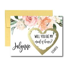 Will You Be My Maid of Honor Scratch Off Card, Maid of Honor Proposal Card, Blush Floral Ask Maid of Honor Bridal Shower Planning, Bridal Shower Invitations, Scratch Off Cards, White Bridal Shower, Bridesmaid Proposal, Or Rose, Rose Gold, White Envelopes, Maid Of Honor