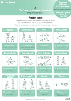 Yoga Fitness Plan - Programme-fessier-béton-LBC - Get Your Sexiest. Body Ever!…Without crunches, cardio, or ever setting foot in a gym! Yoga Fitness, Fitness Workouts, Circuit Training Workouts, At Home Workouts, Fitness Plan, Fitness Circuit, Fitness Classes, Fitness Sport, Fitness Equipment