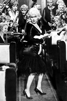 Marilyn Monroe, 1959, in a scene from seminal movie Some Like It Hot.