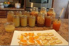 Apple Sauce, Apple Pie Filling, Apricot Butter, Pear Butter, and Peach Jam.