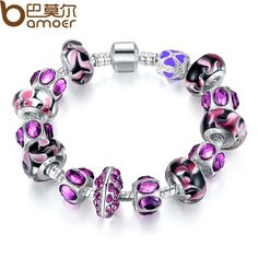 BAMOER Fashion European Style 925 Silver Charm Bracelet with Purple Murano Glass Beads DIY Fashion Jewellery PA1319
