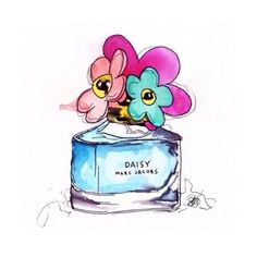 Tadhg Murray's rendition of Marc Jacobs Daisy Perfume Makeup Illustration, Watercolor Illustration, Painting Wallpaper, Fabric Painting, Marc Jacobs Daisy Perfume, Bottle Drawing, Birthday Wishes Messages, Model Sketch, Watercolor Paintings For Beginners